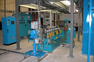 Series: CXE 58 Underwater Pelletizing Line  <br>Built: Century Extrusion, Traverse City, MI USA  <br>Customer Headquarters: USA  <br>Installation/Plant site: USA  <br>Application: Engineered Plastics